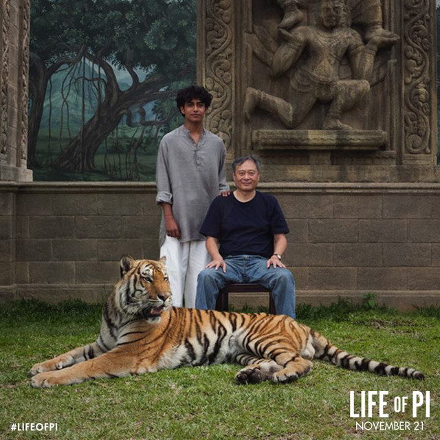 Suraj Sharma (Pi) with director Ang Lee. Photo from the 'Life of Pi' Facebook page