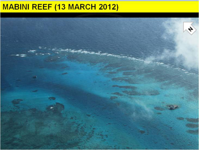 BEFORE RECLAMATION. This is Mabini (Johnson) Reef in the West Philippine Sea before China began to build its suspected airstrip. Photo courtesy of DFA
