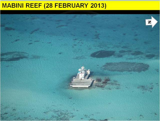 GRADUAL CONSTRUCTION. The Philippines monitors Mabini (Johnson) Reef again on February 28, 2013. Photo courtesy of DFA
