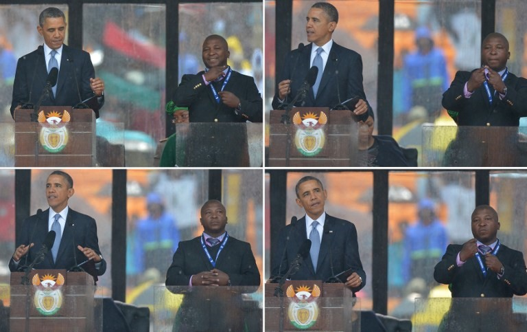 'FLAPPING HIS ARMS' In these combination pictures taken on December 10, 2013 US President Barack Obama delivers a speech next to a sign language interpreter (R) during the memorial service for late South African President Nelson Mandela at Soccer City Stadium in Johannesburg. AFP/Alexander Joe