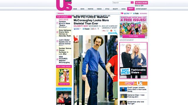 SCARY SKELETAL. A screen shot of the US Weekly story on McConaughey posted November 10