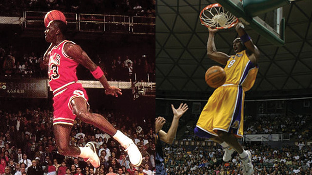 THE AIR UP THERE. Michael Jordan (L) and Kobe Bryant were both iconic for their ability to innovate above the rim. Photos from WikiCommons