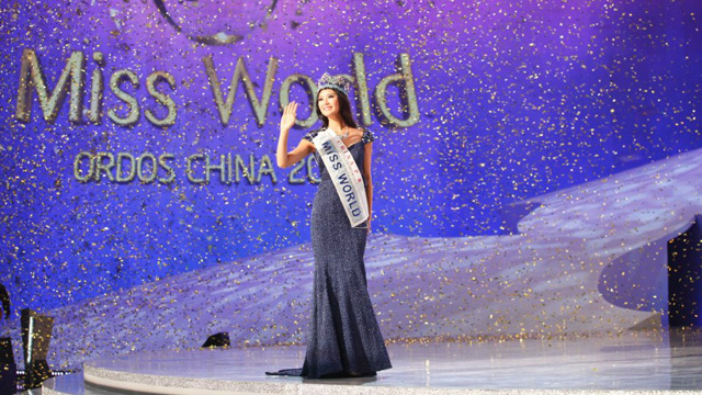 Miss World 2012 title holder Yu Wenxia of China. Photo from Miss World's Facebook page.