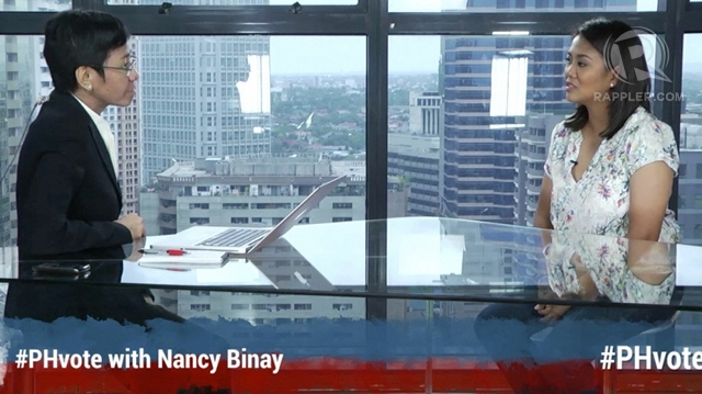KNOWING NANCY. After turning down debates and studio guestings during the campaign, Nancy Binay meets the press, guesting on GMA-7, ABS-CBN and Rappler to grant media interviews.