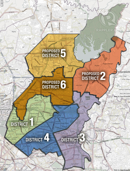 SECOND DISTRICT. Two new districts will be carved out of this giant district in Quezon City.