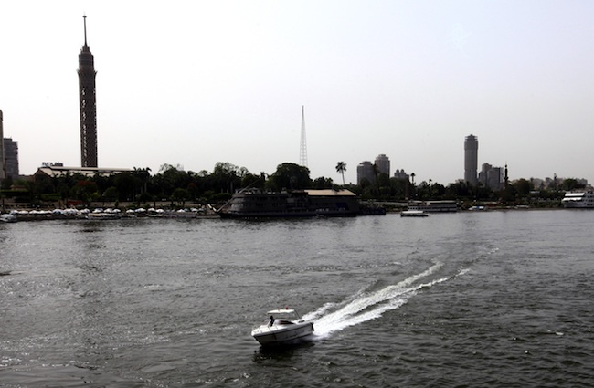 A speed boat sails on the River Nile in Cairo, Egypt, 29 May 2013. Photo by Khaled Elfiqi/EPA