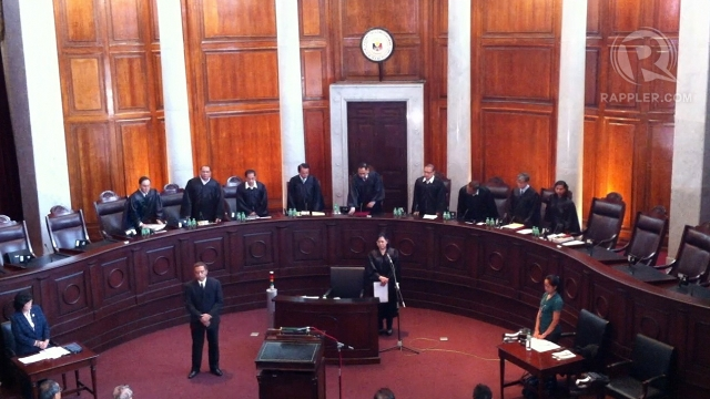 INCOMPLETE BENCH. Only 9 justices participated in the oral arguments because 5 nominees for Chief Justice inhibited. Justice Roberto Abad, however, opted not to inhibit. Photo by Ayee Macaraig