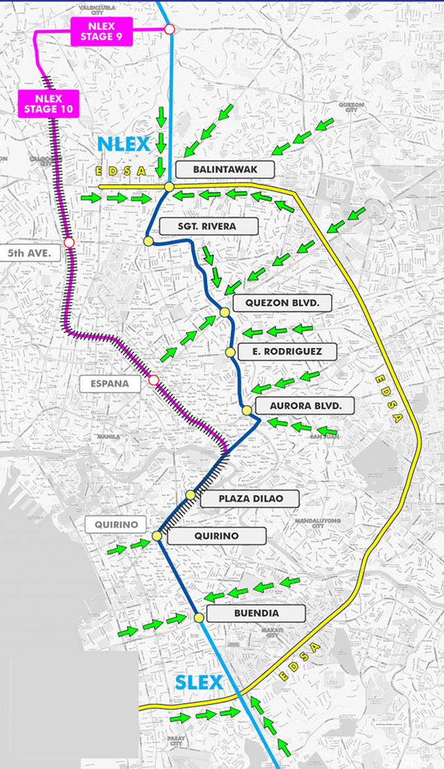 TWO ROADS. Metro Pacific and San Miguel-Citra propose to build separate roads connecting NLEx and SLEx. MPIC's proposal is the pink line, while San Miguel-Citra's is the shorter, dark blue line. Illustration from the SMC-Citra group