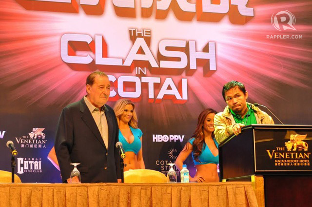 WINNING FIGHT. Pacquiao and promoter Bob Arum field questions from the media before the fight with Brandon Rios in Macau. Photo by Edwin Espejo/Rappler