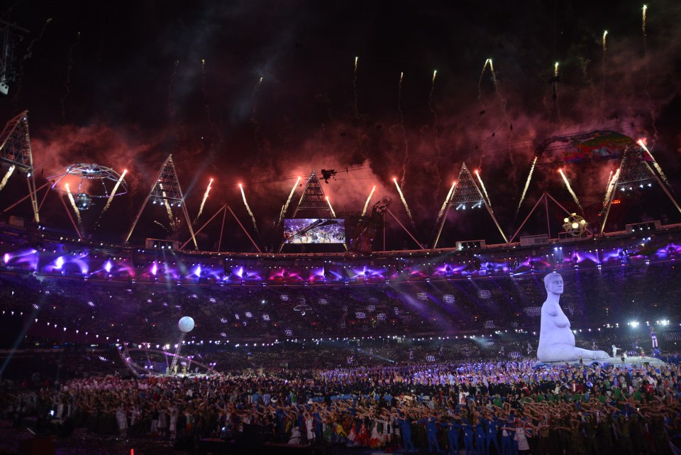 PARALYMPICS OPENING. Fireworks light up the sky around the Olympic Stadium in London, as performers fill the field during the opening ceremony of the 2012 Paralympic Games, August 29, 2012. Image courtesy of the Paralympic Games official page on Facebook.