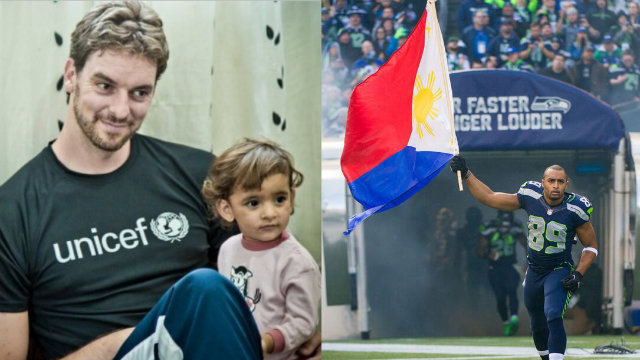 SPORTS WORLD AID. International sports personalities and organizations vow to help victims of typhoon Yolanda (Haiyan). Pau Gasol photo from UNICEF.org. Doug Baldwin Jr photo from Seattle Seahawks' official Twitter account