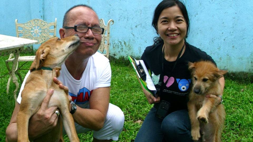 ALL THE LOVE IN THE WORLD. Dogs Phil and James were happy to be adopted by acclaimed filmmaker Joey Reyes in 2011. They are pictured with PAWS's Anna Cabrera (right). Photo from the PAWS Facebook page