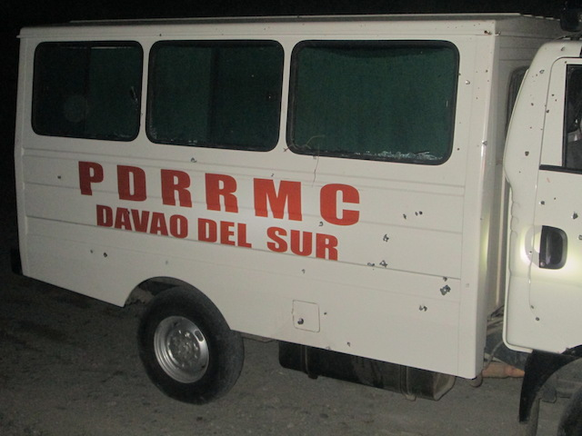 LANDMINE: Shrapnel from a landmine hit the ambulance of the PDRRMC Davao Del Sur. Photo from the Armed Forces of the Philippines