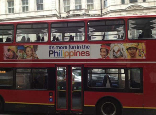PH TOUCH. One of 25 London double-decker buses featuring the u0022It's more fun in the Philippinesu0022 ads. Photo from the Twitter account of Finance Secretary Cesar Purisima