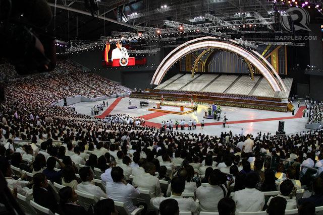 GUEST OF HONOR. President Benigno Aquino III delivers a speech during the inauguration of the Iglesia ni Cristo's Philippine Arena in Bocaue, Bulacan. Photo by Mark Cristino/Rappler