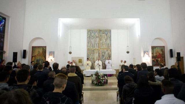 MASS WITH PRISONERS. Pope Francis celebrates Holy Thursday Mass at the Casal del Marmo prison in Rome. Photo from news.va's Facebook page