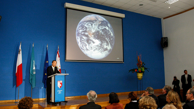 URGENT PROBLEM. UN Secretary-General Ban Ki-moon delivers an address at the inauguration of the Climate Change Monument in Malta in 2009. Photo from UN Multimedia