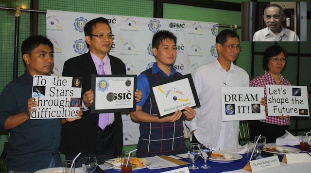 The backers of House Bill 6725 during a press conference in December 2012: (L-R) Mr. Bamm Gabriana (mathematician and astronomy teacher, Rizal Technological University), Dr. Edgardo Aban (Remote Sensing Expert, University of Brunei Darussalam), Dr. Custer Deocaris (Professor of astrobiology, RTU), Dr. Jesus Rodrigo Torres (President, RTU) and Dr. Merle Tan (Former Director of UP-National Institute for Science and Mathematics Education Development) (Inset: Fr. Victor Badillo, SJ, astrophysicist and former Director of the Manila Observatory, who gave his supporting statement for the Philippine Space Agency Bill.) Photo courtesy of Ruby dela Cruz.