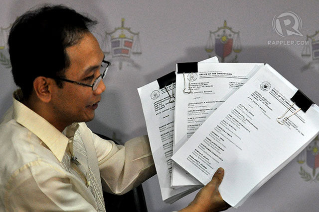 FIRST BATCH. After 6 months of investigation, the Ombudsman is filing plunder charges against the first set of people involved in the multi-billion-peso pork barrel scam. Photo by Inoue Jaena/Rappler