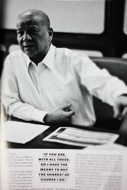 STRAIGHT ANSWERS. 58-year-old businessman Ramon Ang sat down for an exclusive interview with Esquire, finally revealing how he funded his large purchase of San Miguel shares in June. Photo of Esquire article by Adrian Portugal.