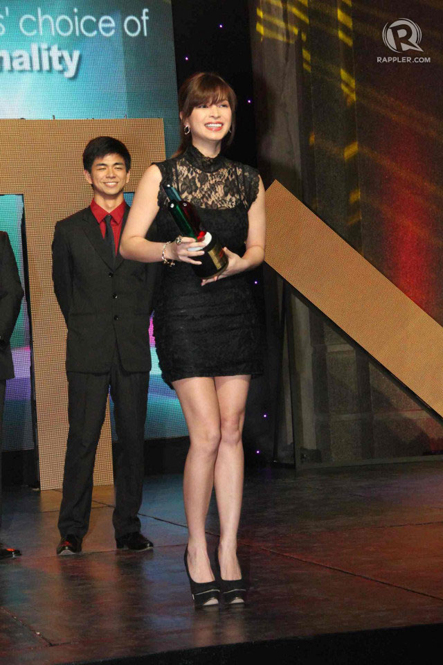 MISS CONGENIALITY. Angel Locsin won Student Leaders' Choice of TV Personality at the USTv Awards last March 7
