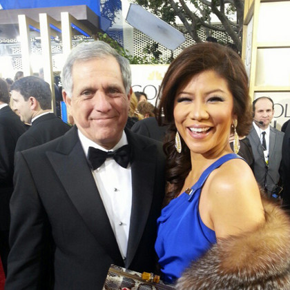 Julie Chen (right) in royal blue, with husband Leslie Moonves