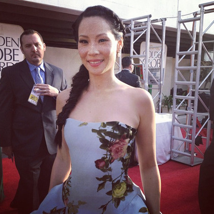 Lucy Liu in refreshing floral sky blue