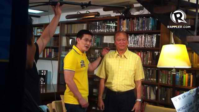 BE CAREFUL WITH YOUR VOTE. Actor Richard Yap, or 'Ser Chief,' shoots a political ad with senatorial bet Ramon Magsaysay Jr on Sunday, March 25. Photo by Rappler/Natashya Gutierrez