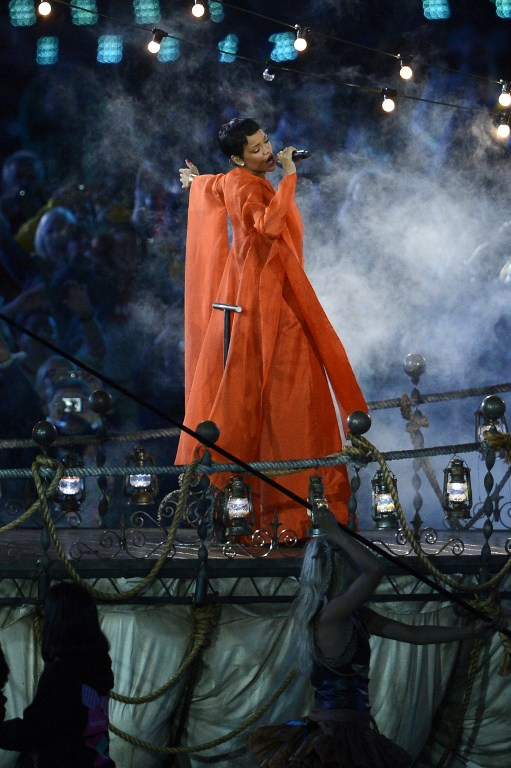RIHANNA AT THE PARALYMPICS. Barbadian singer Rihanna performs during the closing ceremony of the London 2012 Paralympic Games at the Olympic Stadium in east London on September 9, 2012. AFP PHOTO / ADRIAN DENNIS