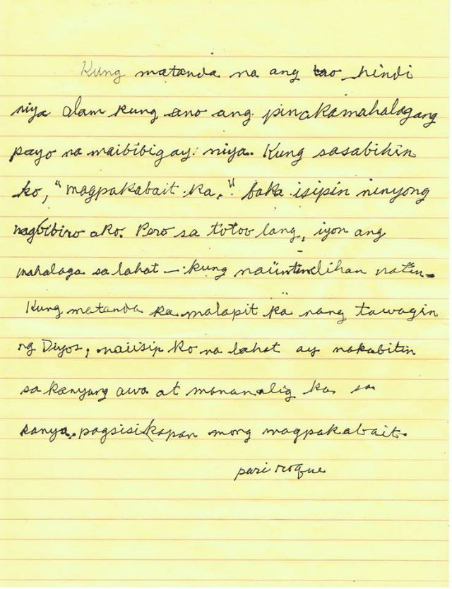 NUGGET OF WISDOM. Fr Roque Ferriols, SJ, makes this handwritten note for graduating Ateneo students in 2008. File photo courtesy of Henson Wongaiham