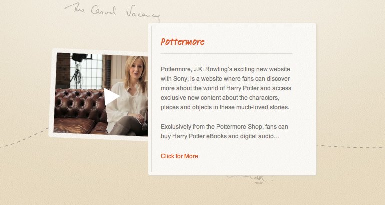 AUTHOR WEBSITE. Aside from a new book, J.K. Rowling unveiled her new author website. Screen shot of www.jkrowling.com