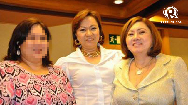CASH DELIVERY. Whistleblower Marina Sula says Napoles (center) ordered her to deliver cash to Ruby Tuason (right), an u0022agentu0022 of lawmakers. The NBI named Tuason as one of the respondents in the pork barrel scam complaint, calling her a representative of Senators Juan Ponce Enrile and Jinggoy Estrada. File photo
