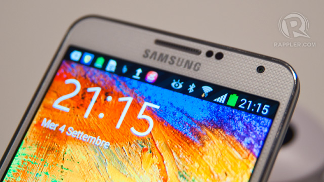 FULL HD. The Note 3 like the Galaxy S4 before it received a display upgrade, a 386ppi Full HD AMOLED display. Photo by Rappler / Michael Josh Villanueva