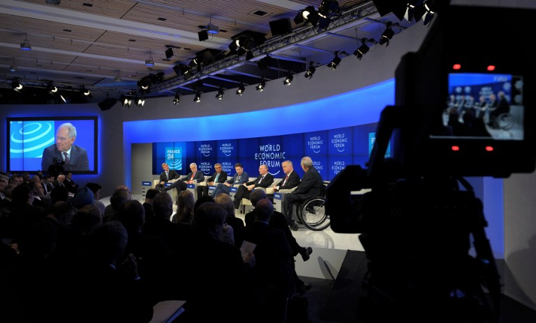 IN SESSION. A session at the World Economic Forum in Davos, Switzerland, on January 25, 2014. Eric Piermont/AFP