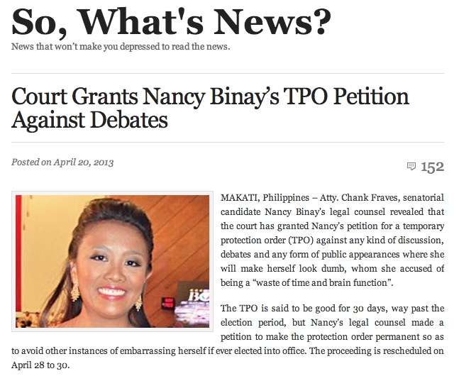 u2018NOT TRUE.u2019 Nancy Binay says her fear is that people think the satirical posts about her and her children are true. Screenshot of u2018So, Whatu2019s News?u2019