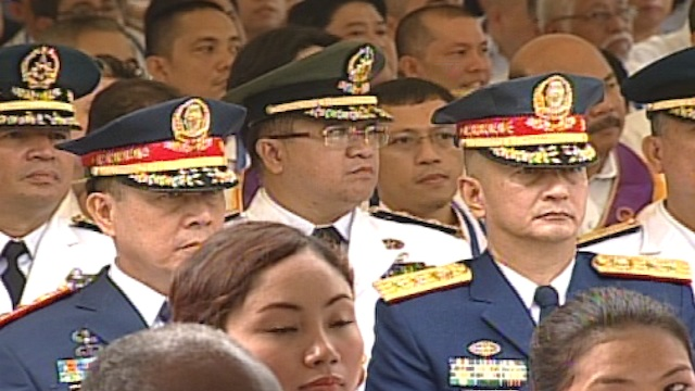 DEFENDING THE NATION. Members of the armed forces were present at the 115th Independence Day celebration with President Benigno Aquino III. Screenshot from Rappler's livestream