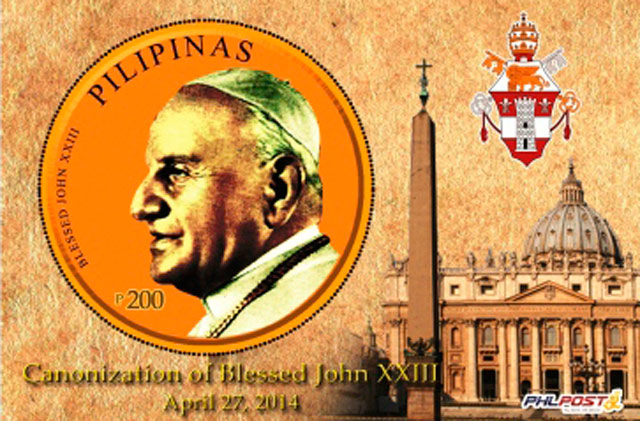 POPE JOHN XXIII. PHLPost will issue 5,000 copies of stamps bearing the image of Pope John XXIII.