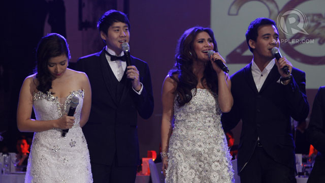 ANGELINE QUINTO, RICHARD POON, Vina Morales and Erik Santos in a song number