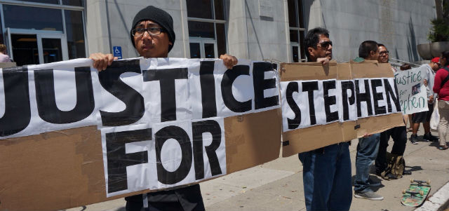 JUSTICE. Friends and family of fatal shooting victim Stephen Guillermo recently rally in San Francisco, calling on prosecutors to pursue a murder charge in the case. All photos courtesy of Guillermo media