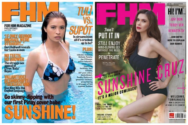THEN AND NOW. Sunshine Cruz on the cover of FHM Philippines at (left) 22 years old and at (right) 35 years old. Image from the Sunshine Cruz Facebook page