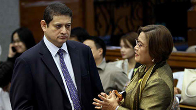 NO WITNESSES. Sen TG Guingona is in a foul mood because Justice Secretary Leila de Lima failed to bring whistleblowers with her to the Senate hearing on the pork barrel scam. Photo by Joseph Vidal/Senate PRIB