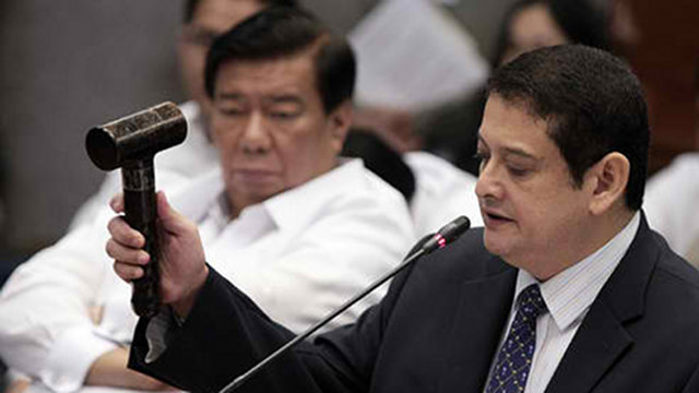 HEARING SUSPENDED. Sen TG Guingona immediately suspends the hearing, not allowing Justice Secretary Leila de Lima to respond to his last point. Photo by Joseph Vidal/Senate PRIB