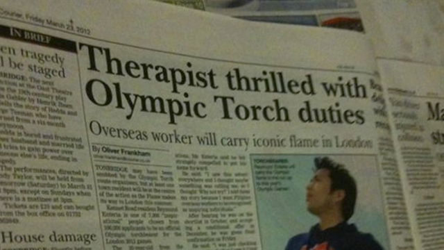 MEDIA FEATURE. Filipino occupational therapist Reymund Enteria is featured in British media for his Olympic feat. Photo from Enteria's Twitter account