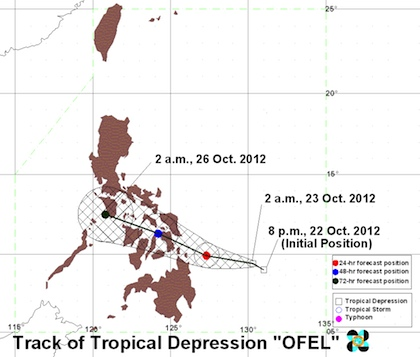 Track as of 2 am. Image courtesy of PAGASA