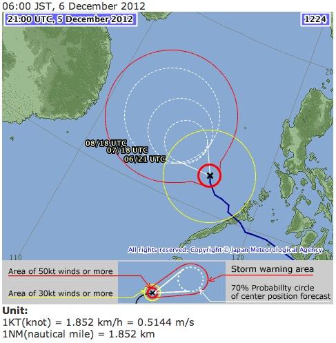 Japan Meteorological Agency forecast track for Bopha as of 8 am December 6, 2012. Image courtesy of the JMA.