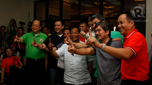 LAST CANDIDATE. UNA leaders and senatorial candidates accompany Nancy Binay as she files her certificate of candidacy at the last hour on the last day. Photo by Don Regachuela