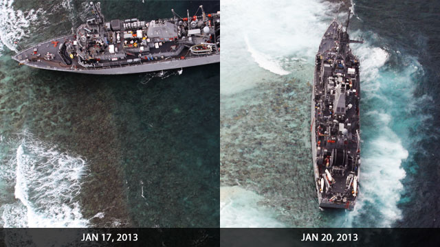 BEFORE AND AFTER. The USS Guardian turned 90 degrees in 4 days dragged by the strong currents and winds of the Sulu Sea. Graphic by Bardo Wu from photos courtesy of AFP WESCOM