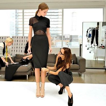 POSH-THE-DESIGNER at work at her atelier. Image from the dvb Victoria Beckham Facebook page