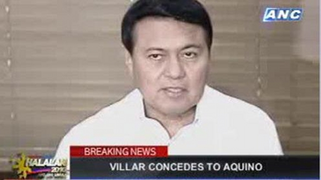 SO CLOSE. Once the presidential frontrunner, Villar lost the elections and was one of the first candidates to concede to his then bitter rival, Sen. Benigno Aquino III. Screen grab from ANC