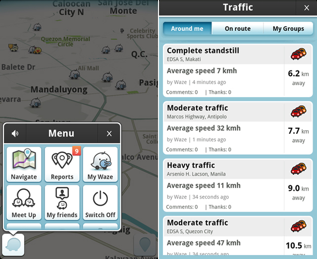 THE MAP TELLS TROUBLE. Icons indicate particular reports on the map that have been reported by Waze users.